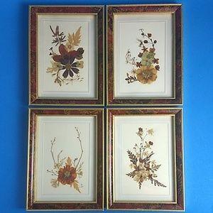 Pressed dried floral arrangements framed set